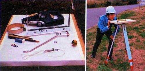 平板測量に使われる機器(左)と作業風景(右)(写真・資料:特記以外はニコン・トリンブル)