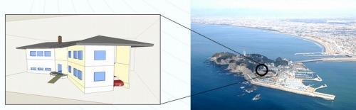 江ノ島に架空の別荘を建設するプロジェクト(資料・写真:特記以外はアドバンスドナレッジ研究所)