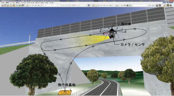 3DソフトでUAVの飛行経路を設定し、自動操縦するイメージ(写真・資料:フォーラムエイト。以下同じ)