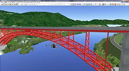 3DVRと連携して橋梁周辺を飛行するUAVのイメージ