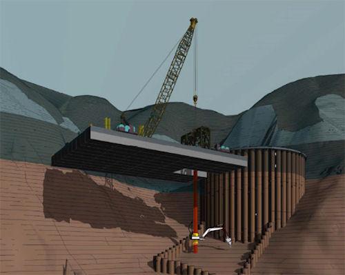 ダム湖に浮かべた台船から湖底まで、シャフトに沿って昇降できる「T-iROBO UW」(資料・写真:大成建設。以下同じ)