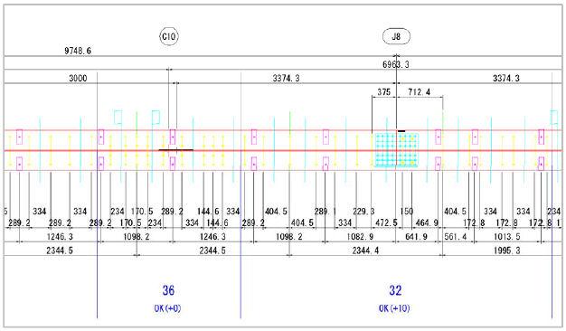 鋼桁と合成床板の接続部の展開図。コンマ1mmの単位で表現された図面に注意(資料:オフィスケイワン。以下同じ)