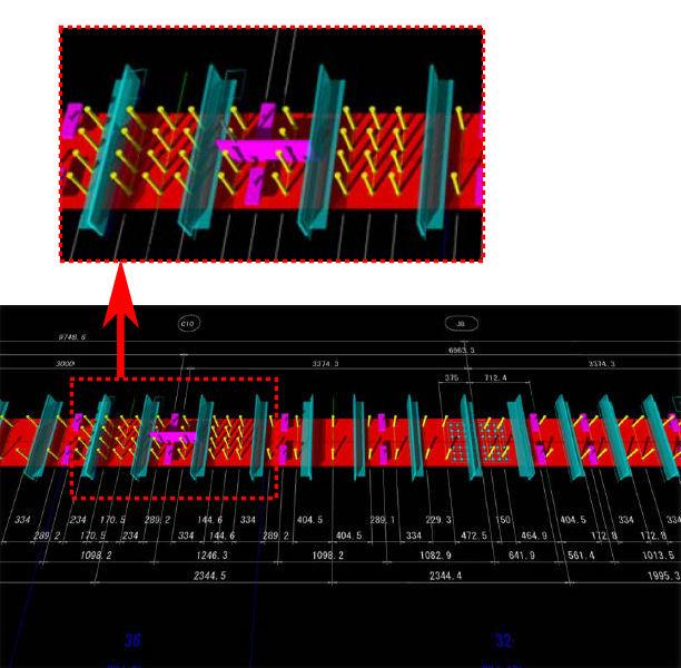 上記の図面を1クリックで3Dモデル化した例。スタッドやT形鋼などがひしめく鋼桁上面の様子が精密に再現されている