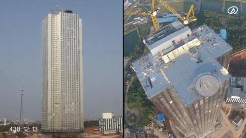 施工開始から438時間(18.25日)後の57階建てビル(以下の資料:遠大集団)