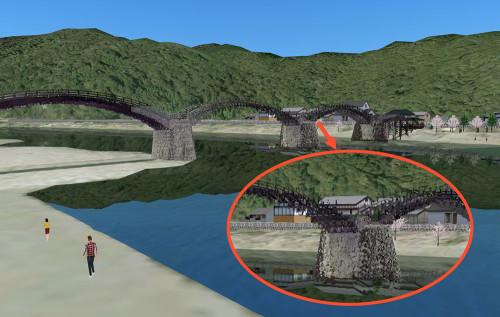 錦帯橋の3Dモデル。円内が作品を上映する橋脚(資料:フォーラムエイト)