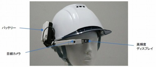 「Doctor Cloud/巡回・点検支援システム」で使用する目線カメラ付きHMD(以下の写真、資料:日立製作所、日立産業制御ソリューションズ)