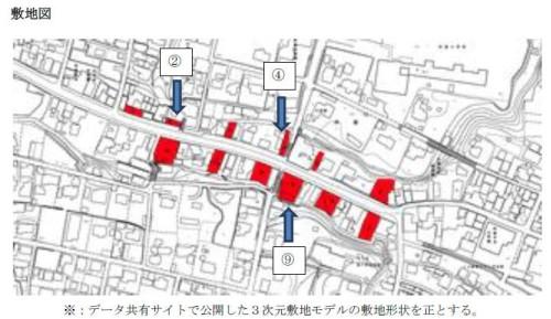 課題敷地図。12の赤枠で示した空き地のうち、5~12個を選んで建物や施設を設計する。2、4、9の敷地は必須(資料:IAI日本)