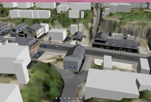 塩屋の坂(手前)と酢屋の坂(奥)と商店街が交差する部分