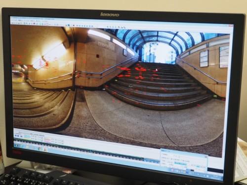 都内の巨大地下鉄駅を計測した全天球写真(資料:U's Factory)