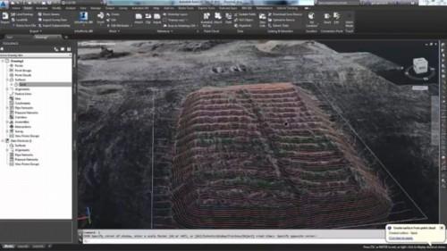 現場の3Dモデルから土量計算を行った例