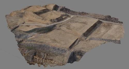 鹿島とリカノスが共同開発した技術により作成された土工現場の3Dモデル(資料:鹿島)