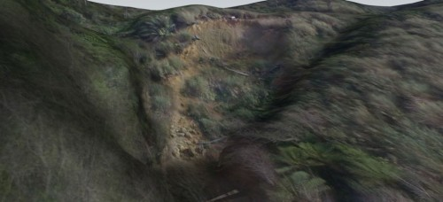 SketchUpで3Dトレースして出来上がった地形の3Dモデル