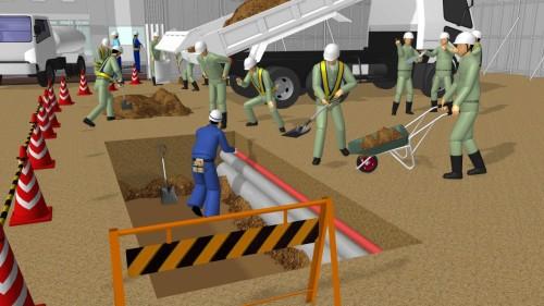 掘削、埋め戻しを行う様々な作業員のポーズ