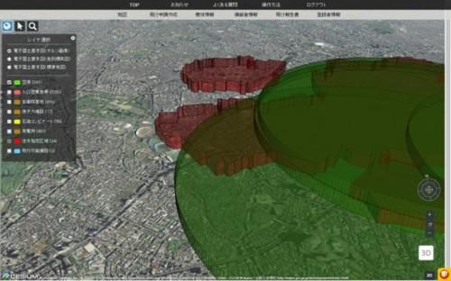飛行禁止空域の3次元地図