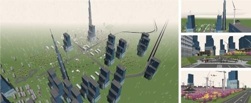 超高層ビルやタワー、発電用風車がそびえ立つ「トーマスマイタウン雪国」。小学4年生の作品
