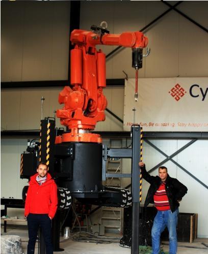 自走式の3Dコンクリートプリンター「CyBe RC 3Dp」(以下の写真:CyBe Construction)
