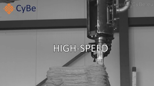 ロボットアームから材料を吹き出して高速で造形する