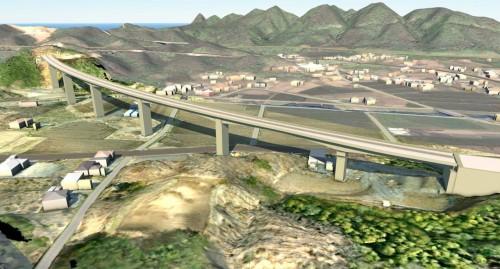 地形の3Dモデルと橋梁の3Dモデルを合成したもの。国土交通省東北地方整備局発注の国道45号夏井高架橋工事の現場にて