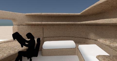 家具などを建物と一体化して造形したイメージ