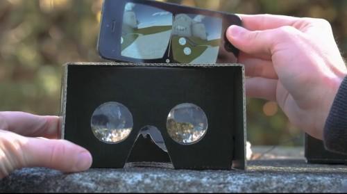 BIMxのVR機能を起動させたスマホをGoogle Cardboardに入れる