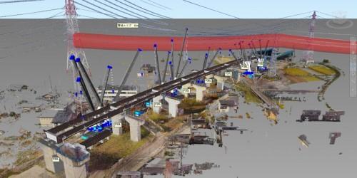橋梁全長にわたって施工計画を3Dモデルで作成し、クレーンの動きなどをシミュレーションした。太い赤線は送電線から半径6mの空間を表示したもの