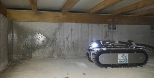 砲身のようなものから遠隔操作で防蟻剤を発射する「スプロボ」