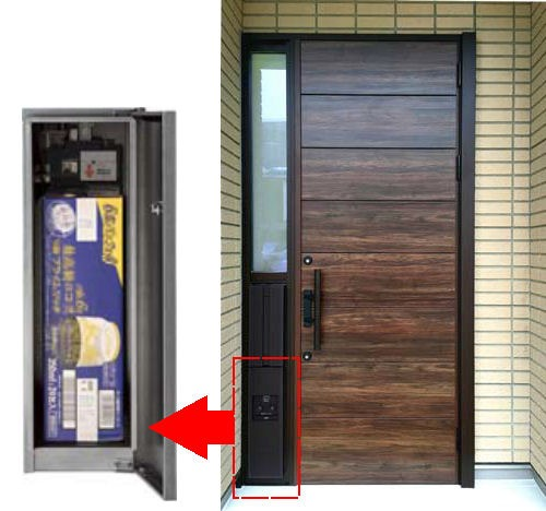 赤枠部分が業界初の「玄関一体型宅配ボックス」。350mlのビール缶24本入りのケースがすっぽりと納まるサイズだ(以下の資料:ミサワホーム)