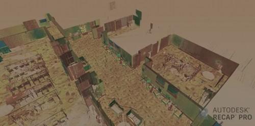 SPAR 3D 2017の会場となったマリオット・マーキーズホテルの内部を計測した点群の例(資料:Leica Geosystems, Autodesk)