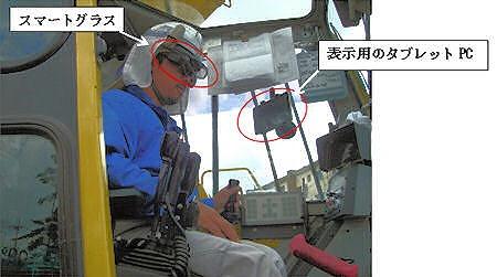スマートグラスで杭孔の傾きをリアルタイムで見る杭打ち機のオペレーター(以下の写真、資料:奥村組)