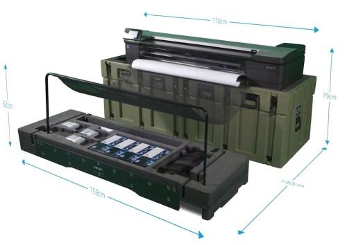 ケースを大判複合機の台として使い、セッティングを完了したところ