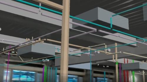 これから設置される設備の3Dモデルも、現場の天井に重なって見ることができた