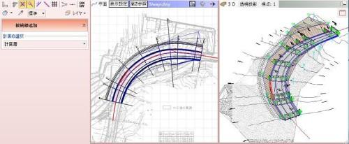 線形や縦横断図からICT土工や面的出来形管理用のCIMモデルを作成する機能
