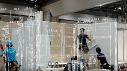 HoloLensで見たブース。CAD図面とパネルがピッタリあっているのが確認できた(資料:インフォマティクス)