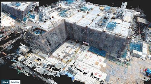 空撮写真をパソコンで処理して作ったビル現場の3Dモデル