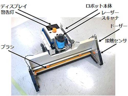 清掃ロボット「TOギャザー」に搭載されたレーザースキャナーやセンサーなど