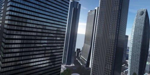 新宿のビル(左)の窓には周囲の風景が反射している