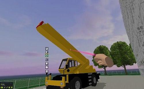 クレーンなどの建機も可動範囲のなかで操作できる
