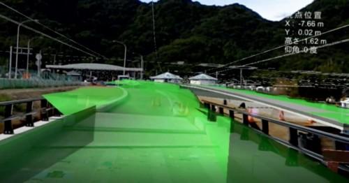 工事中の橋や道路に3Dモデルを重ねて表示したところ
