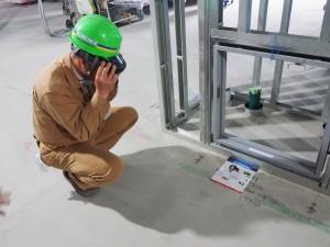 ビル工事の屋内での実証実験