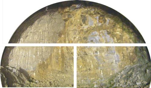山岳トンネルの切り羽写真。これまでは上方、左右に3分割した領域ごとに、専門家が岩盤を評価していた(以下の写真、資料:大林組)