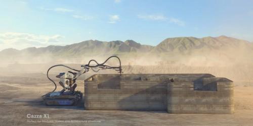 コンクリート系の材料を層状に重ねて建物を造形する3Dコンクリートプリンターロボット「Cazza X1」(以下の資料:Cazza Construction  Technologies)