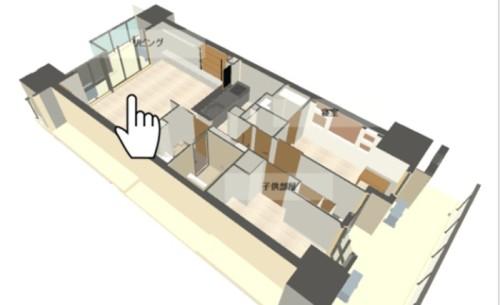 ウェブサイト上に表示された立体図面。見たい部屋をクリックする