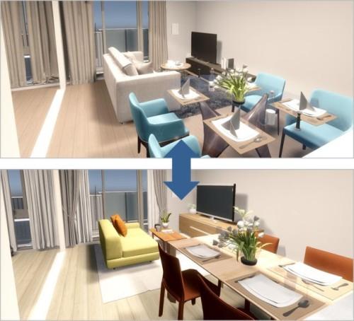 家具や床材のデザインを変えてシミュレーションした例