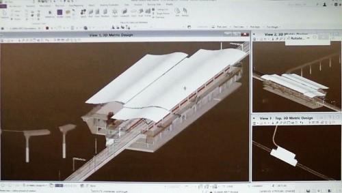 OpenRailによる駅舎の企画設計。3D部品を置いていくようにざっくり3Dモデルが作れる