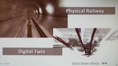 鉄道の維持管理の例。実物を再現した3Dモデルを使って管理する。「デジタルツイン(Digital Twin)」という言葉を使っているところが、「IoT(モノのインターネット)」的なアプローチを思わせる