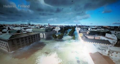 リアルな3Dモデルを使ったヘルシンキ市の洪水シミュレーション(資料:ヘルシンキ市)
