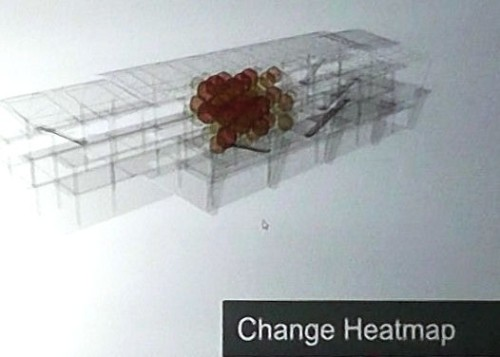 BIMソフトによる設計変更のイメージ。変更は一部に偏り、データ量も全体に比べて少ない(資料:Bentley Systems)