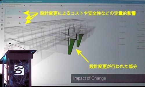変更部分がどのような影響を与えるのかを定量的に解析する機能(資料:Bentley Systems)