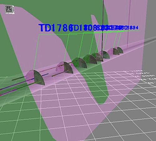 五大開発の「MakeJiban」による3次元地盤モデルに、切り羽写真や地表からのボーリングデータなどを入力した例