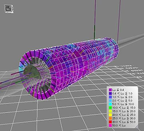 全孔にグラウチングを施工した後、ルジオン値の分布を3D化した例